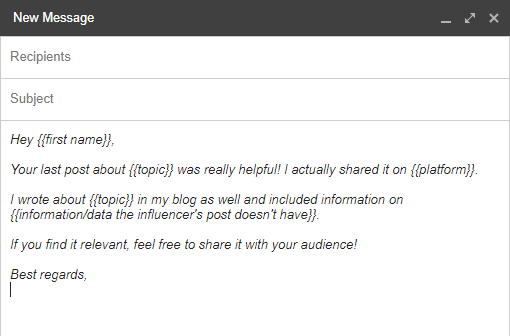 influencer outreach email