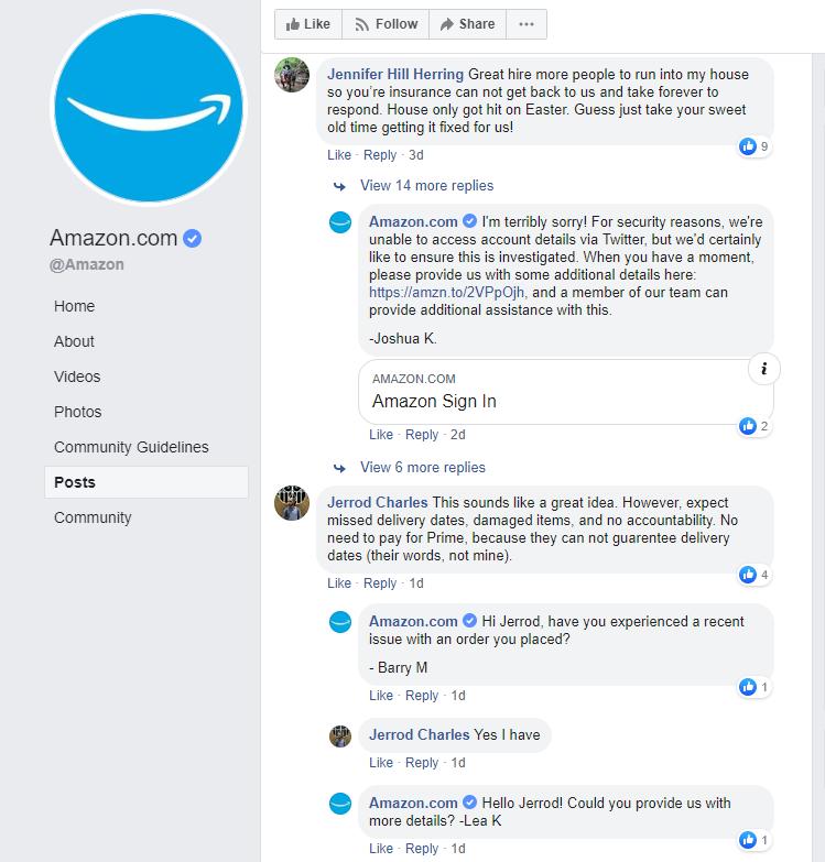 amazon social media customer support