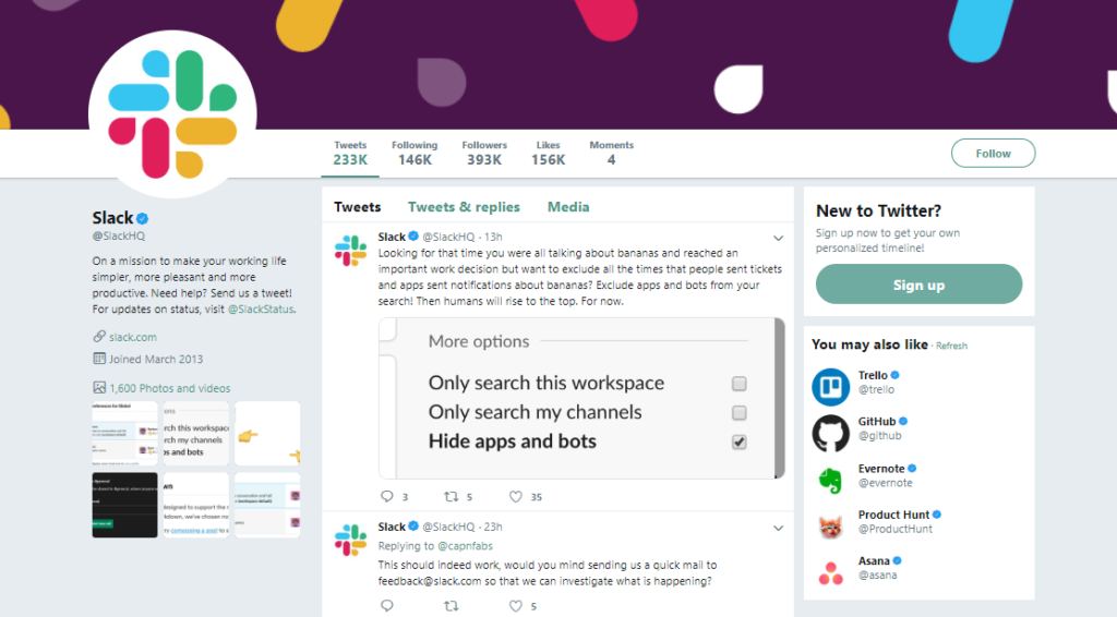 slack social media strategy example