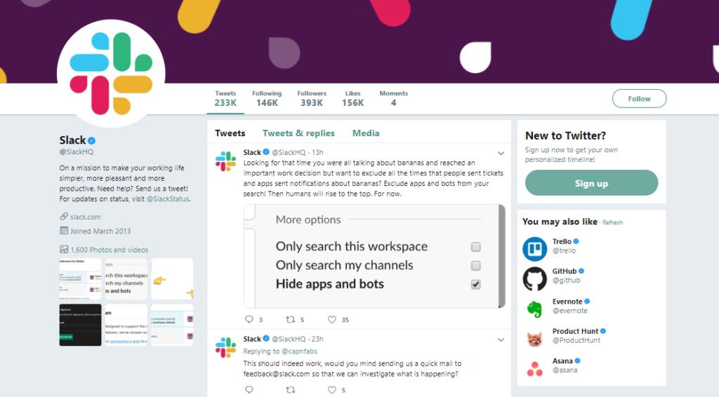 slack social media strategy example